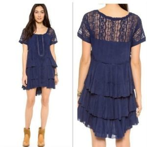 Free People Navy Sunbeams Tiered Raw Hem Dress